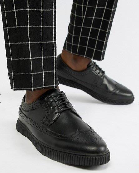 ◎美國代買◎ASOS巴洛克雕花鞋面搭配條碼線條鞋底英倫龐克搖滾風巴洛克雕花條碼鞋底個性皮鞋~歐美時尚~大尺碼~仿皮質感