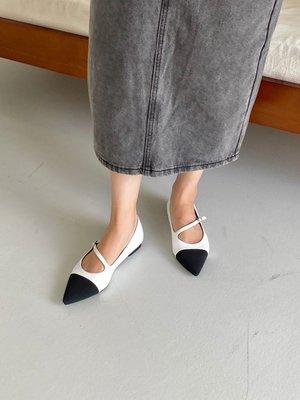 韓國 小香風 尖頭 繫帶 涼鞋 雙色