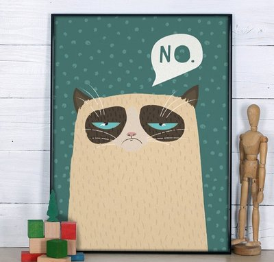 C - R - A - Z - Y - T - O - W - N 不爽貓裝飾畫 美式掛畫 創意設計 手繪風格 可愛貓畫