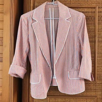 日係品牌 CLEAR IMPRESSION 橘白條紋休閒西裝式外套 Size 2