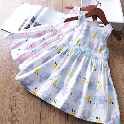 【Mr. Soar】 B157 夏季新款 歐美style童裝女童大象印花洋裝背心裙 現貨