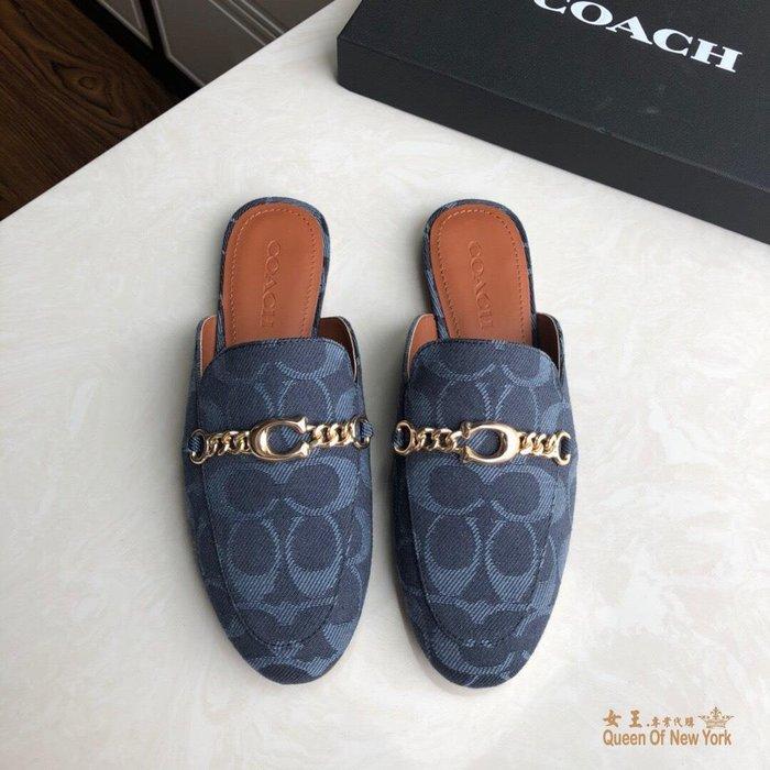 【紐約女王代購】COACH 寇馳 2020新款 懶人鞋 五金屬滿版LOGO 百搭休閒鞋3 時尚精品 美國連線代購