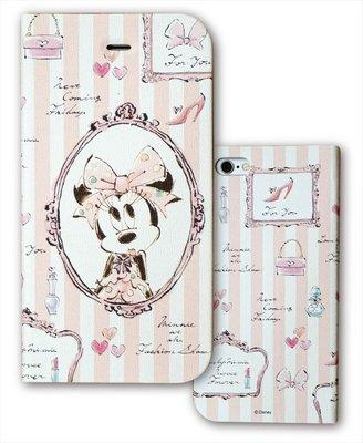 尼德斯Nydus~* 日本正版 迪士尼 米妮 可立式 翻頁皮套 手機殼 4.7吋 iPhone6 鏡子款