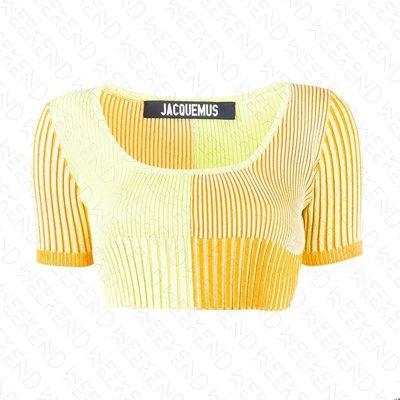 【WEEKEND】 JACQUEMUS 低胸 針織 彈性 合身 短袖 上衣 黃色 20春夏