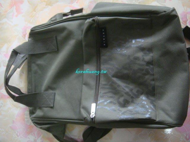 sisley 軍綠色 魚口後背包 雙拉鍊 前置物空間 雙側置物空間 手提把