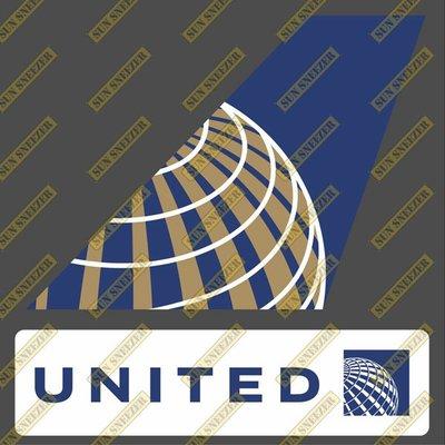 聯合航空 United 垂直尾翼與機身商標 貼紙  尺寸上63x86mm 下 23x90mm