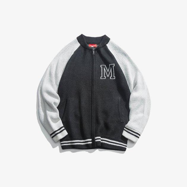 FINDSENSE 2019 秋季上新 G7 黑色白色簡約拼接撞色素面毛衣 男裝 秋裝 毛衣外套