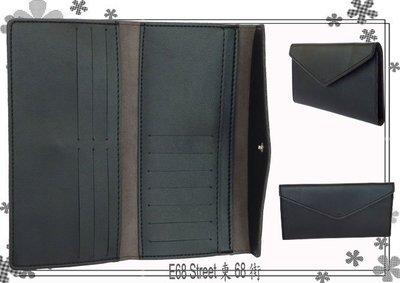 e68_st~JL0721b 與日韓同步 黑色仿牛皮3折長夾 長皮夾