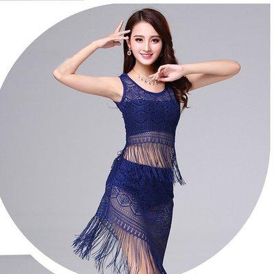 新款肚皮舞練功服蕾絲流蘇演出服裝女成人裙套裝舞蹈服 上衣+裙子