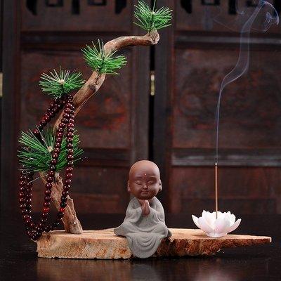 KELEPOPO 香薰爐 沙小彌家居擺件禪意小和尚陶瓷枯木逢春天然木風化木樹根雕工藝品