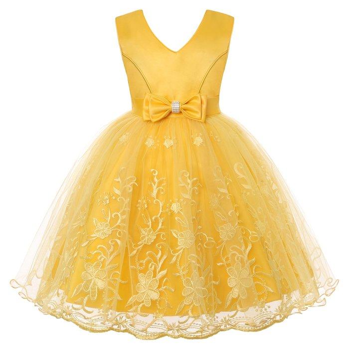 •*~ 辣媽咪衣飾小舖 ~*•❤童裝系列❤K970445韓版大童夏款甜美清新時尚蓬蓬蕾絲亮片可愛公主禮服公主洋裝