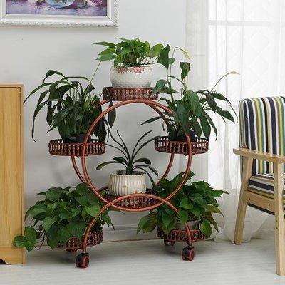 ZIHOPE 歐式鐵藝多層花架可移動推拉帶輪落地式花盆架客廳綠蘿花架子陽臺ZI812