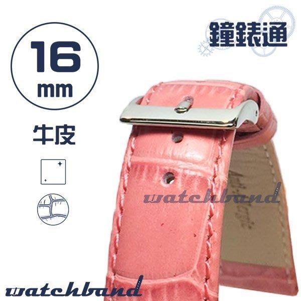 【鐘錶通】C1.26I《亮彩系列》鱷魚格紋-16mm 櫻花粉┝手錶錶帶/皮帶/牛皮錶帶┥