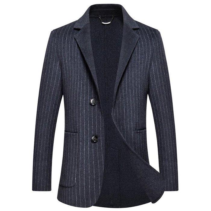 毛呢大衣 西裝外套-條紋商務修身舒適男外套73wk29[獨家進口][米蘭精品]