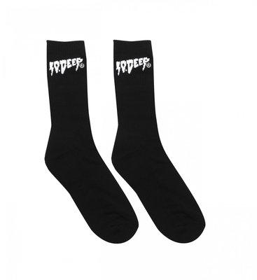 10.DEEP 經典閃電 Logo Socks 基本款 彈性 吸汗 運動 中筒襪 黑色 百搭 現貨 【BoXhit】