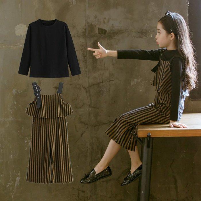 『媽咪貝貝』童裝女童春裝套裝2019新款韓版中大童春春季洋氣背帶褲兩件套潮衣