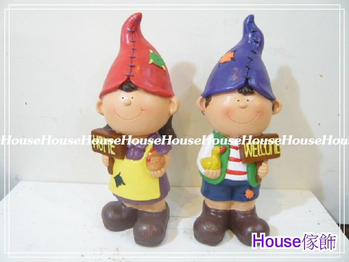*台南佳里*︵House傢飾︵*鄉村田園風格~舉牌(HOME/WELCOME)彩繪尖帽娃娃(2個一組)【☆限量款/新發售