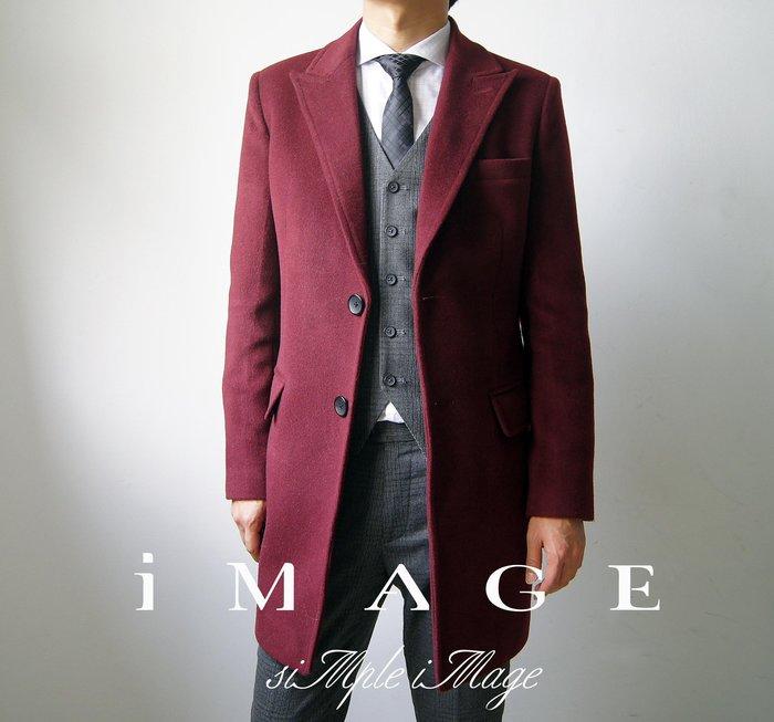 SIMPLE IMAGE(手工製作)超強製作酒紅色厚羊絨長版大衣a680