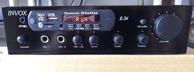 【昌明視聽】INVOX E-36 HIFI立體聲擴大機 SD 藍芽 USB MP3 FM 二組麥克風輸入 超值型多功能