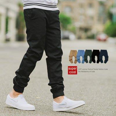 柒零年代【N9685J】Jogger挺版素色抽繩長褲縮口褲(SH8019)