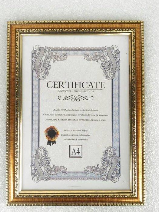 (台灣製)(面 :玻璃)立架式+掛勾A4 獎狀框 聘書框 證書框