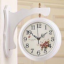 yes99buy加盟-歐韓式田園白色實木麗聲靜音鐘錶客廳時尚創意掛鐘雙面鐘