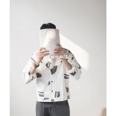 【MYCRC】含運 幾立 男士寬松印花蝙蝠袖長袖襯衫 個性方領薄款休閑白襯衫男
