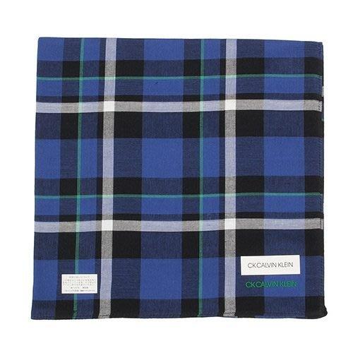 【姐只賣真貨】Calvin Klein CK交錯大格紋純綿帕巾手帕(寶藍/黃藍色)48*48CM 父親節88節禮物
