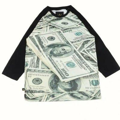 歐美 美金 七分袖T HIP HOP 嘻哈 大尺碼 尺寸S~5XL