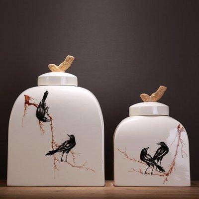 〖洋碼頭〗美式中式古典龜裂陶瓷儲物罐擺設手繪花鳥圖案工藝品家裝飾罐擺件 ysh233