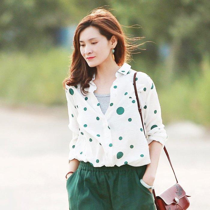 【鈷藍家】棉麻臆想 夏季確幸天絲棉輕薄柔軟長袖翻領綠色波點襯衫 乾淨清爽文藝