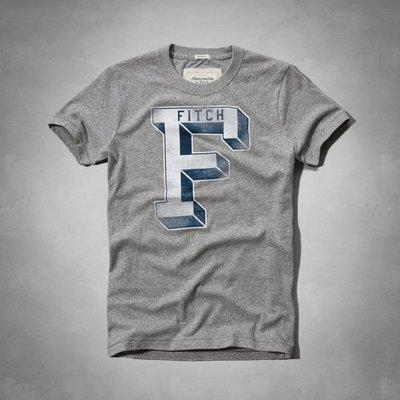 Maple麋鹿小舖 Abercrombie&Fitch * AF 灰色印花字母短T * ( 現貨XL號 )