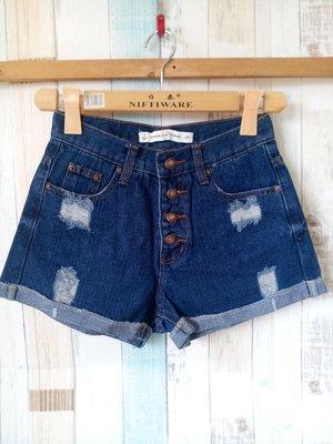 【全新特價品】SOMEONE藍色刷破、高腰銅釦反摺牛仔短褲,特價110(女、SIZE:25 OR S號)