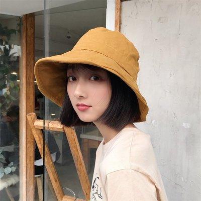 夏季必備 帽子 帽檐可調 春夏大檐防曬遮太陽女式漁夫帽子韓版百搭出游文藝盆帽