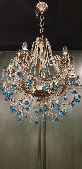 【卡卡頌  歐洲古董】💎法國老件~ 美麗晶透水藍 水晶瀑簾 古典 水晶燈💎l0329