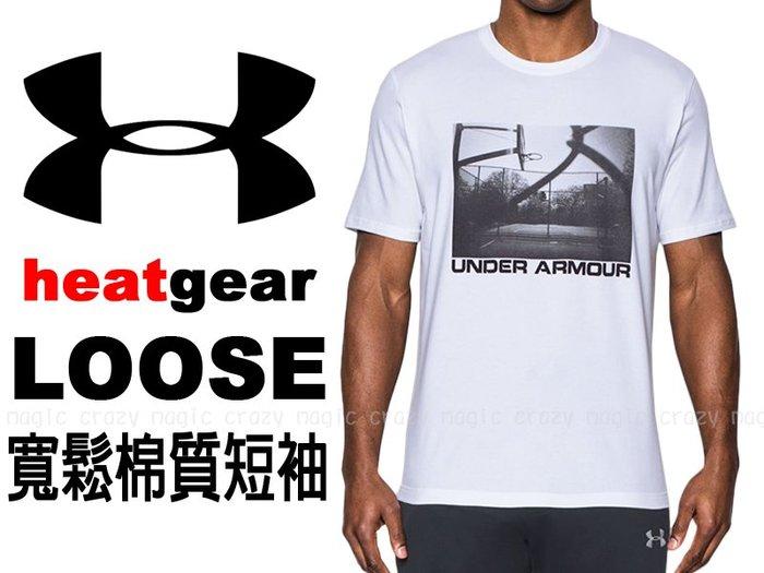 5折 UNDER ARMOUR UA 棉質 能量棉 寬鬆版 短袖T恤 球場照片 白色 # 1290585-100