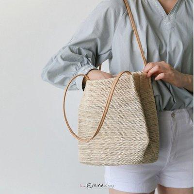 EmmaShop艾購物-韓國官網INS熱銷款式素面草編托特包/購物包/水桶包包/草編包/海灘包