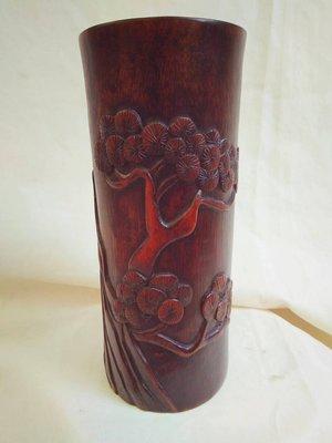 早期竹雕筆筒(高:23圓:10cm)