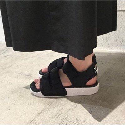 ADIDAS ADILETTE SANDAL W 魔鬼氈 羅馬 涼鞋 S75382 女鞋 黑白