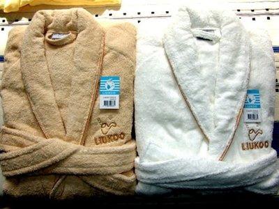 LIUKOO煙斗純棉100%超厚浴巾布超保暖浴袍2件