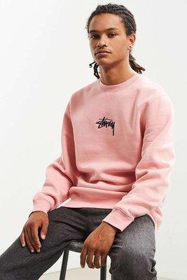 代購 Stussy Stock Applique Crew Neck Sweatshirt 粉色