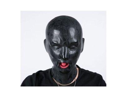 歐美情趣用品男頭套天然乳膠束縛露眼嘴面罩另類玩具 帶口塞鼻吸/送潤滑液C1106