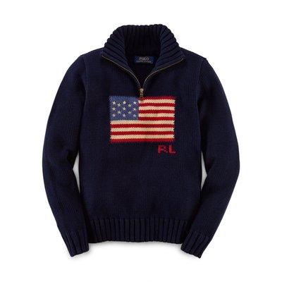 全新美國 Ralph Lauren Polo 深藍色國旗立領拉鍊針織毛衣 大童M