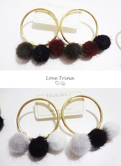 【Love Trina】正韓。8919-0110 三色小毛球圓圈針式耳環--鋼針(2色)