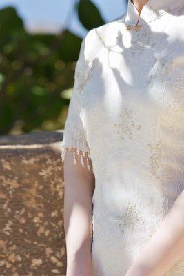 WANTING 晚《東蘭梨花》繡花改良旗袍袖口訂珠復古中長款旗袍裙新