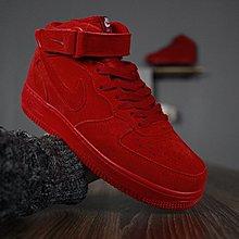 D-BOX Nike Air Force 1 紅色 大紅 高筒 空軍一號 魔鬼氈 復古休閑鞋 運動鞋