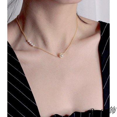 Do.小飾奧地利珍珠項鏈不對稱鎖骨鏈925純銀18k金短款頸鏈復古優雅氣質潮