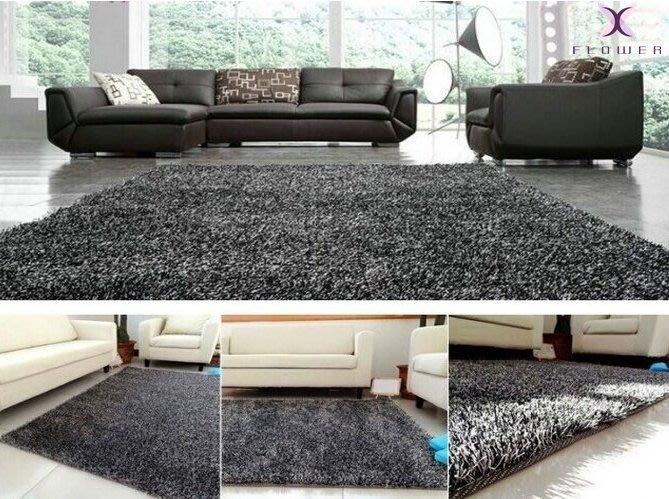 【夏法羅 傢飾】進口 簡約時尚 黑白雙色 韓國絲 亮絲 實品屋 樣 客廳 臥室 餐廳 防滑 地毯 床邊毯 FD-1-1