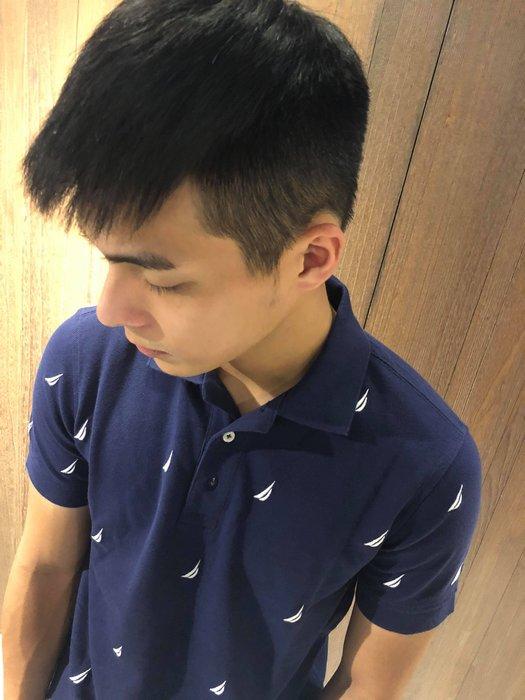 美國百分百【全新真品】Nautica Polo衫 休閒衫 短袖 上衣 帆船牌 男款 網眼 滿版 logo 深藍 G393