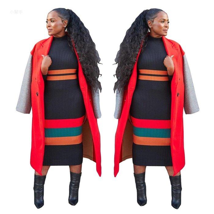 9139歐美平臺半高領針織超彈性打底毛衣長款修身連體裙#優品小鋪#